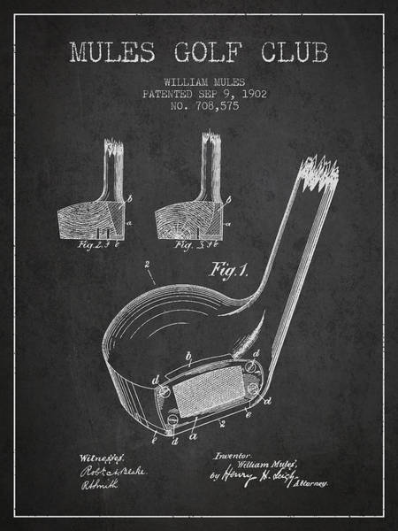 Pga Digital Art - Mules Golf Club Patent Drawing From 1902  - Dark by Aged Pixel