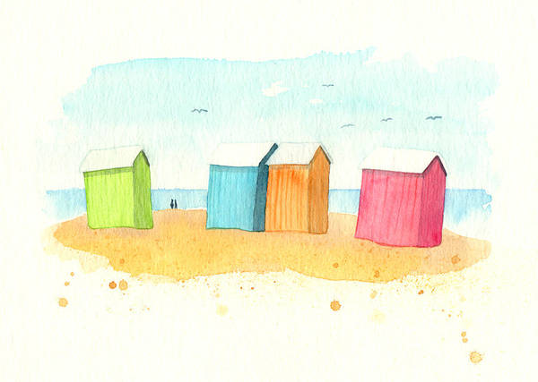 Illustration Digital Art - Multi Colored Beach Huts by Nautic By Nature. Watercolor Illustrations From The Seaside