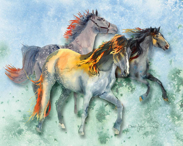 Wall Art - Painting -  Da132 Multi - Horses Daniel Adams by Daniel Adams