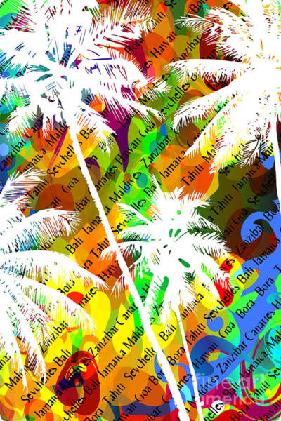 Wall Art - Digital Art - Multicolor Abstract Tropical Background by Yulianas