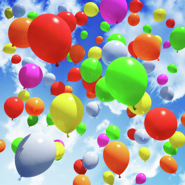 Social Event Photograph - Multicolored Balloons Released Into The by Digtialstorm