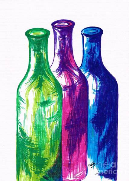 Dark Pink Drawing - Multicolour Bottles by Teresa White