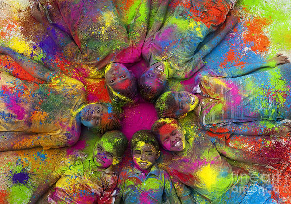 India Photograph - Multicoloured Boys by Tim Gainey