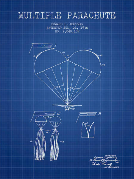 Wall Art - Digital Art - Multiple Parachute Patent From 1936 - Blueprint by Aged Pixel