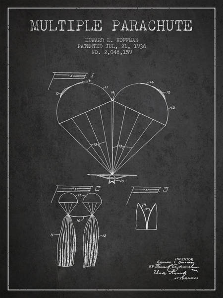 Wall Art - Digital Art - Multiple Parachute Patent From 1936 - Dark by Aged Pixel