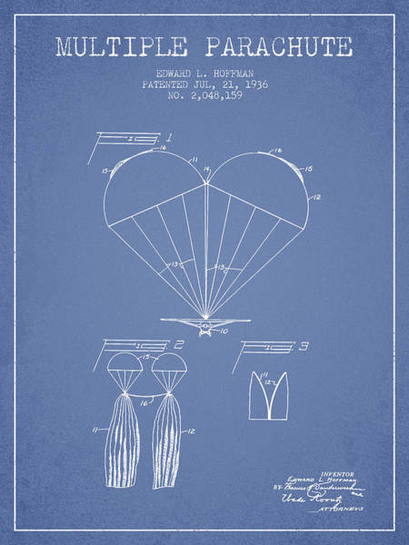 Wall Art - Digital Art - Multiple Parachute Patent From 1936 - Light Blue by Aged Pixel