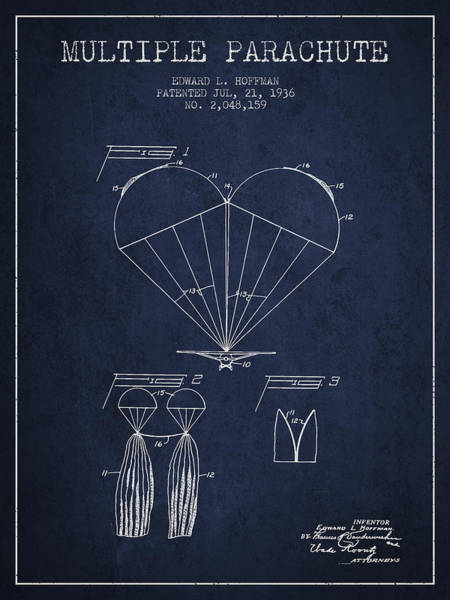 Wall Art - Digital Art - Multiple Parachute Patent From 1936 - Navy Blue by Aged Pixel