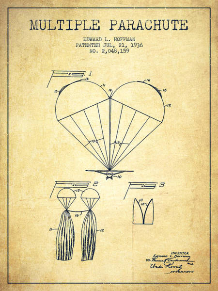 Wall Art - Digital Art - Multiple Parachute Patent From 1936 - Vintage by Aged Pixel