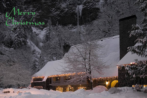 Photograph - Multnomah Falls Christmas Card by Wes and Dotty Weber