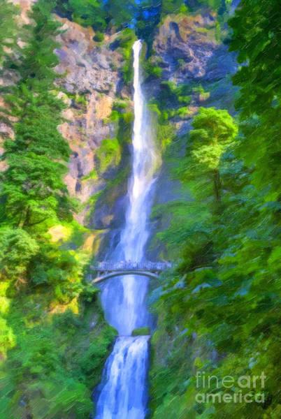 Painting - Multnomah Falls by David Millenheft