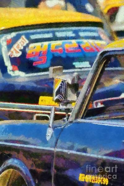 Mumbai Painting - Mumbai Cabs by George Atsametakis