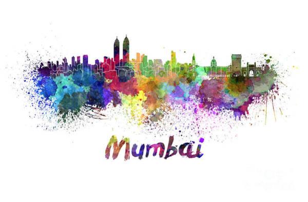 Mumbai Painting - Mumbai Skyline In Watercolor by Pablo Romero