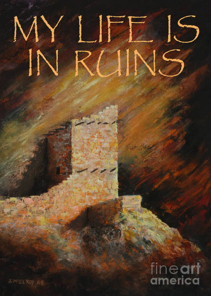 Anasazi Painting - Mummy Cave Ruins II Greeting Card by Jerry McElroy