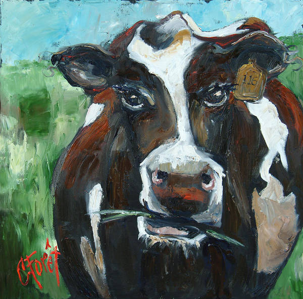 Wall Art - Painting - Munchy Moo by Carole Foret