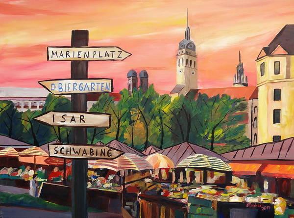 Munich Painting - Munich Bavaria Viktualienmarkt With Signposts - A Bustling Market Scene by M Bleichner