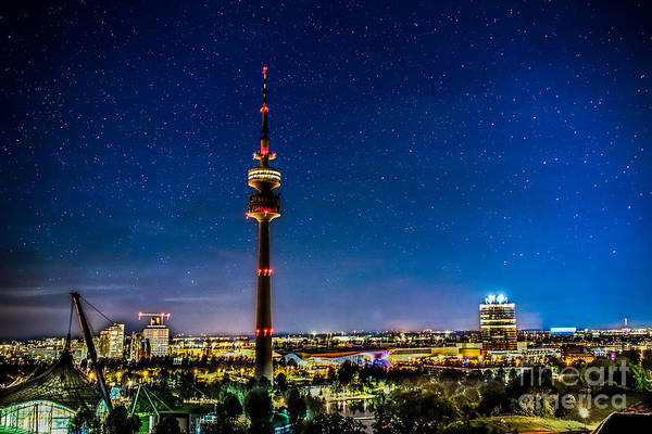 Photograph - Munich City Nights - Olympiapark by Hannes Cmarits