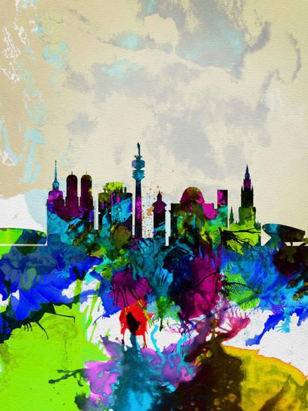 Munich Painting - Munich Watercolor Skyline by Naxart Studio