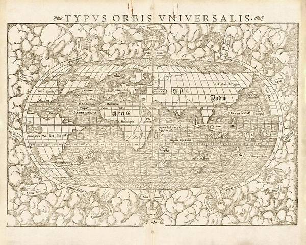 Geography Photograph - Munster's World Map by Library Of Congress, Geography And Map Division/science Photo Library