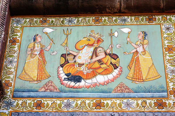 Jodhpur Wall Art - Photograph - Mural Painted On The Wall, Mehrangarh by Inger Hogstrom