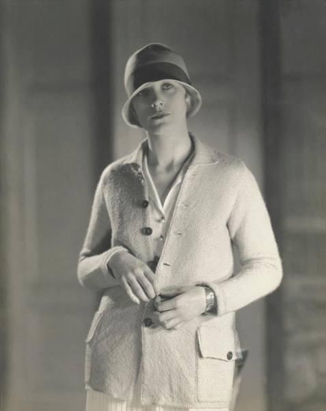Knit Hat Photograph - Muriel Finley Wearing A Sweater-coat by Edward Steichen