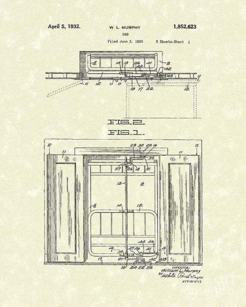 Drawing - Murphy Bed 1932 Patent Art by Prior Art Design