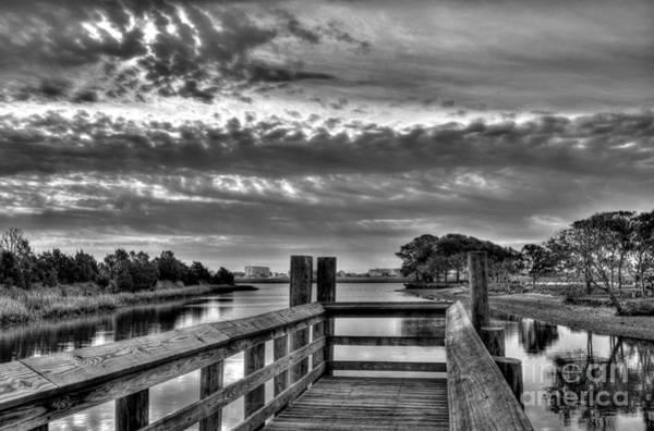 Photograph - Murrells Inlet Morning 2 Bw by Mel Steinhauer
