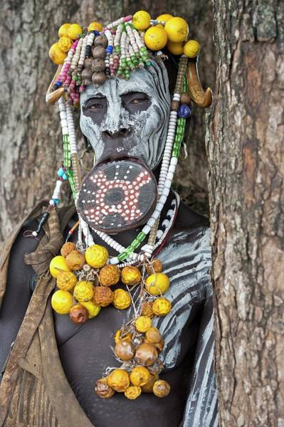 Indigenous People Wall Art - Photograph - Mursi Woman With Lip Plate And Body Art by Tony Camacho