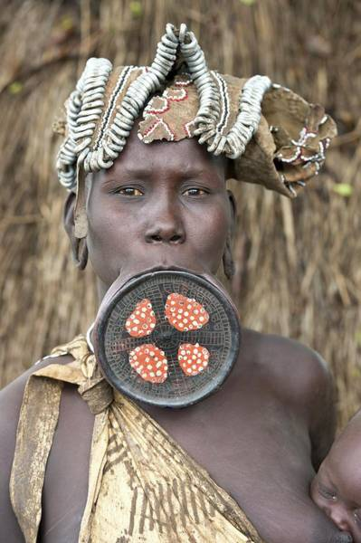 Indigenous People Wall Art - Photograph - Mursi Woman With Lip Plate by Tony Camacho