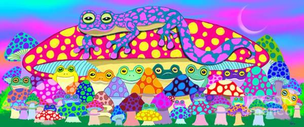 Wall Art - Painting - Mushroom Meadow Frogs by Nick Gustafson