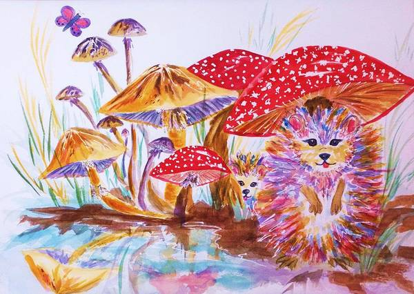 Wall Art - Painting - Mushrooms And Hedgehogs by Ellen Levinson