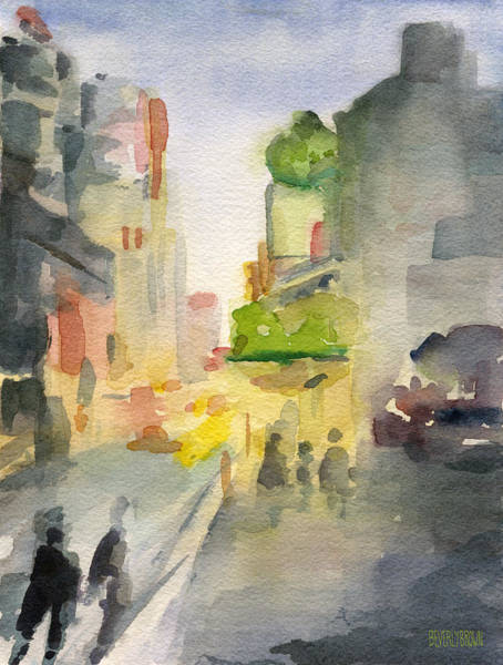 Urban Scene Painting - Music Box Theater Times Square Watercolor Painting Of New York by Beverly Brown