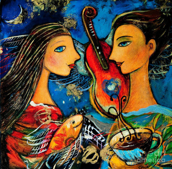 Wall Art - Painting - Music Lovers by Shijun Munns