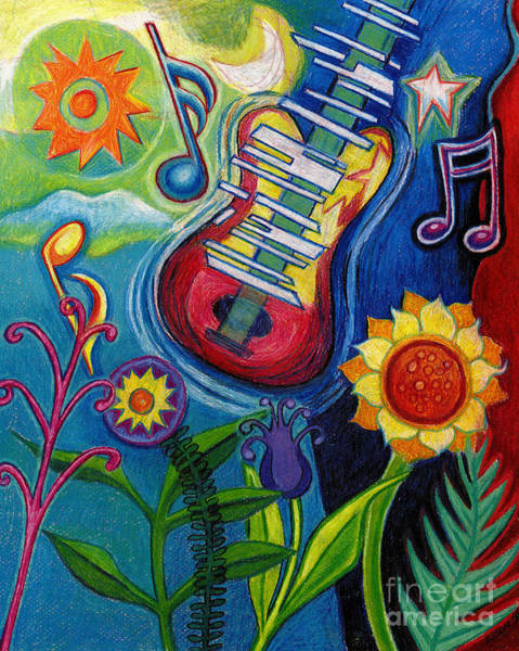Colored Pencil Drawing Drawing - Music On Flowers by Genevieve Esson