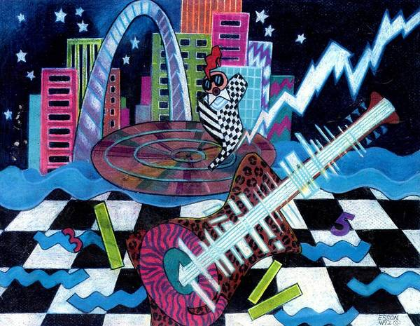 St Louis Arch Painting - Music On The River Stl Style by Genevieve Esson