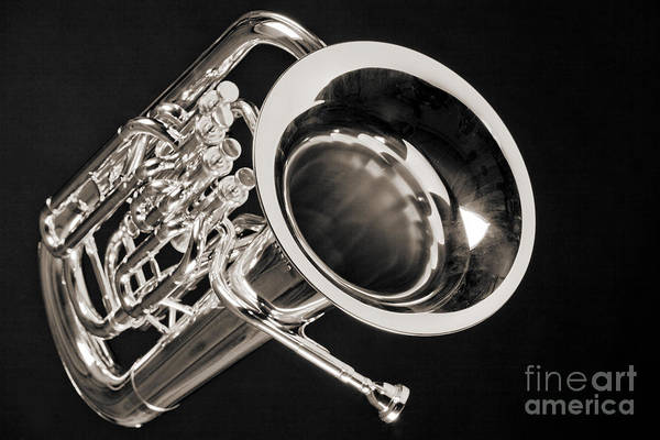 Photograph - Music Photograph Of A Tuba Brass Instrument In Sepia 3281.01 by M K Miller
