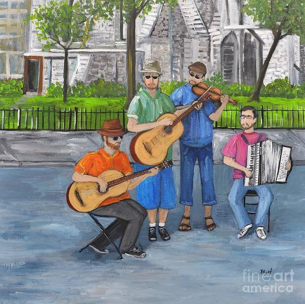 Montreal Street Scene Painting - Music Revisited by Reb Frost
