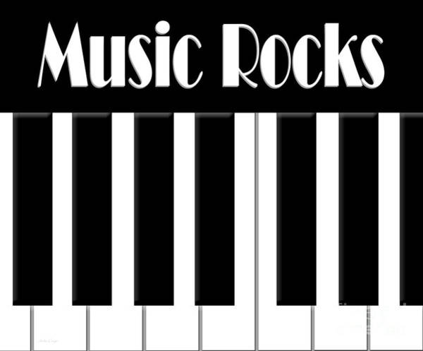 Digital Art - Music Rocks Bw by Andee Design