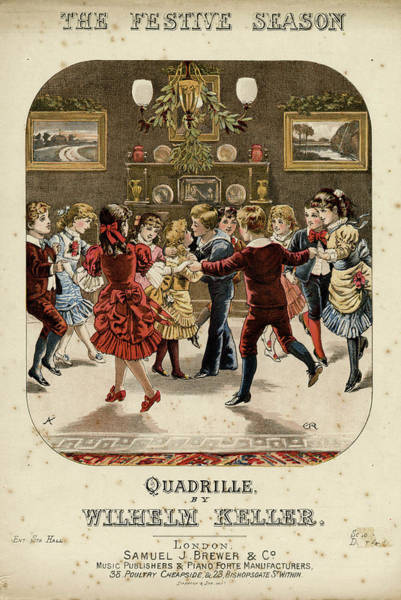 Traditional Dances Drawing - Music Sheet Cover Design, The Festive by Mary Evans Picture Library