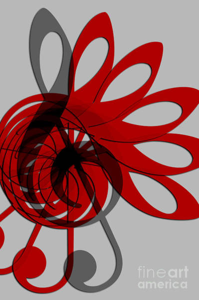 Front Room Digital Art - Music Treble Clef Abstract In Gray Red And Black by Natalie Kinnear