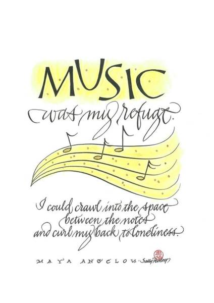 Drawing - Music Was My Refuge by Sally Penley
