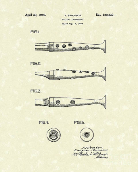 Drawing - Musical Instrument 1940 Patent Art by Prior Art Design