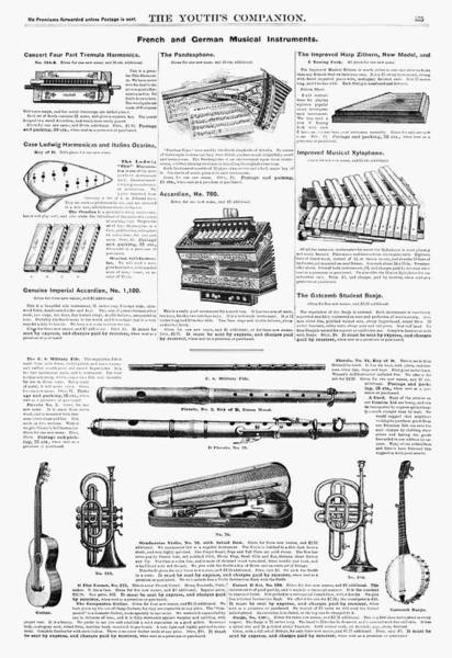 Fife Painting - Musical Instruments, 1890 by Granger