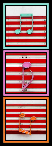 Neon Pink Photograph - Musical Notes Triptych by Art Block Collections