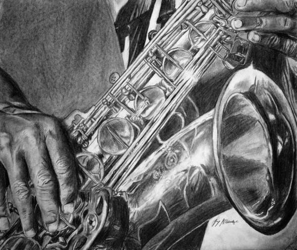 Sax Drawing - Musical Touch by Jay Alldredge