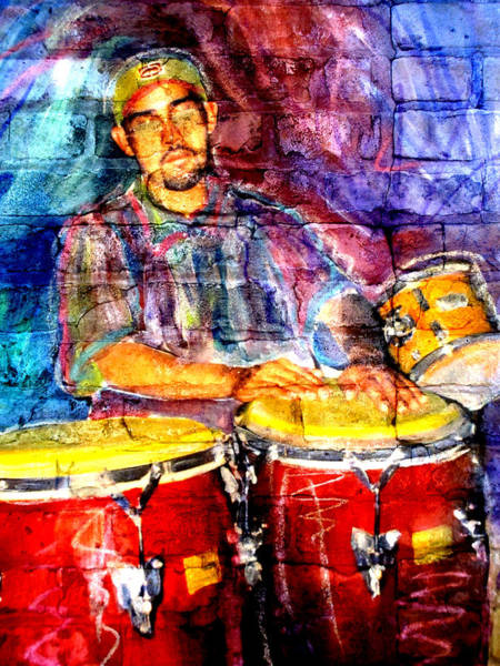 Digital Art - Musician Congas And Brick by Anita Burgermeister