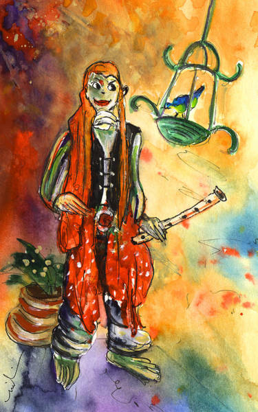 Painting - Musician In Crocodile Park In Gran Canaria 02 by Miki De Goodaboom