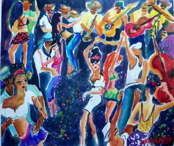 Bass Guitar Painting - Musicians And Street Jammers Of Rio Sold by Therese Fowler-Bailey