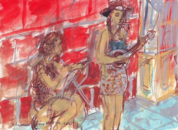Mississippi River Drawing - Musicians Busking  by Edward Ching