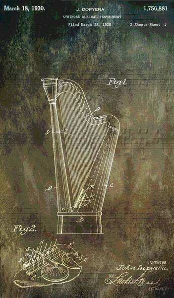 Harp Mixed Media - Musician's Harp Patent by Dan Sproul
