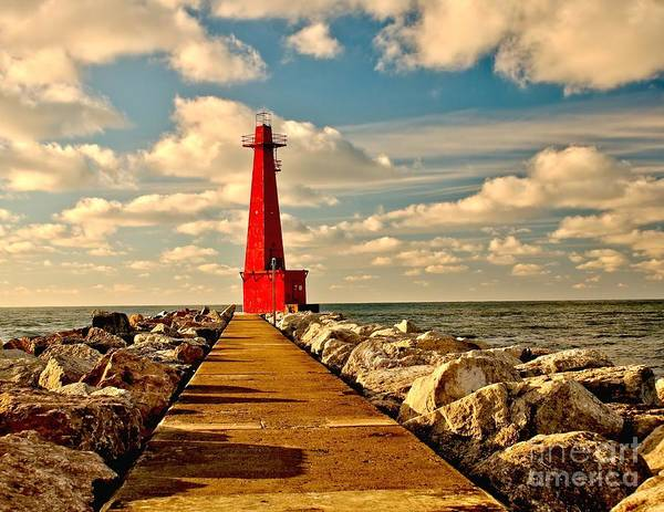 Muskegon South Pier Light Art Print